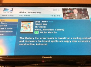 Scooby Movie screen on my tivo. exciting stuff.