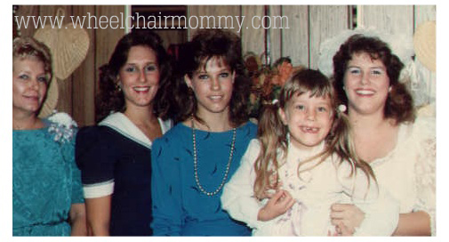 Mom, 2 of my other sisters and 5 year old me with Lisa just a month before she died. I *think* this was the last time I saw her alive.