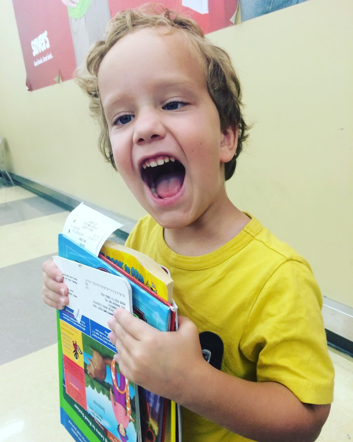 Buying books and playing with trucks