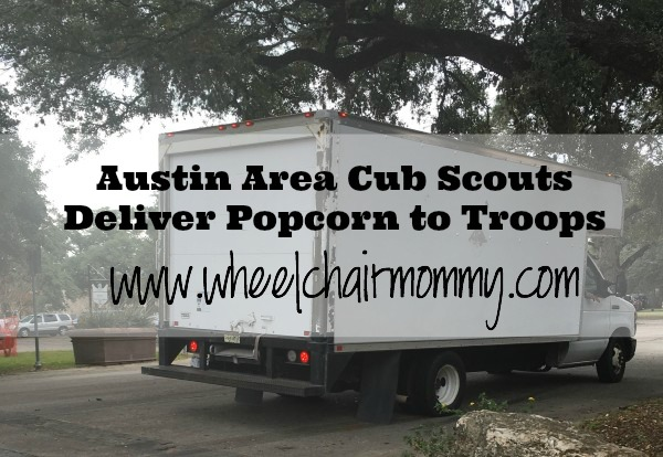 Austin area scouts deliver popcorn to troops at camp Mabry