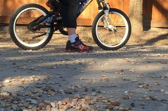 Lucas finally said good-bye to training wheels